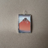 Japanese woodblock print, Mount Fuji scene, up-cycled to hand-soldered glass pendant
