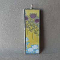 Japanese woodblock print, Mount Fuji and Lake Yamanaka scene, up-cycled to soldered glass pendant