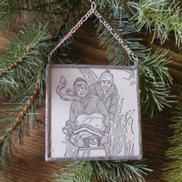 Children sledding, holiday greeting, vintage 1950s - 60s Christmas cards, upcycled to hand-soldered glass Christmas tree ornament