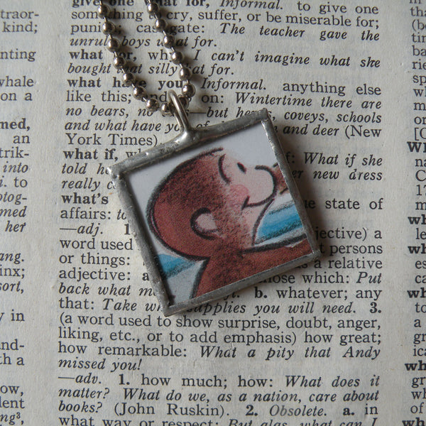 Curious George, original vintage childrens' book illustrations, upcycled to soldered glass pendant
