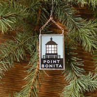 Golden Gate National Recreation Area, vintage travel poster images, upcycled to hand-soldered glass Christmas tree ornament
