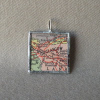 Glasgow, Scotland, vintage map, hand-soldered glass pendant