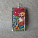 Gnome and squirrel, vintage 1930s children's book illustrations, hand-soldered glass pendant