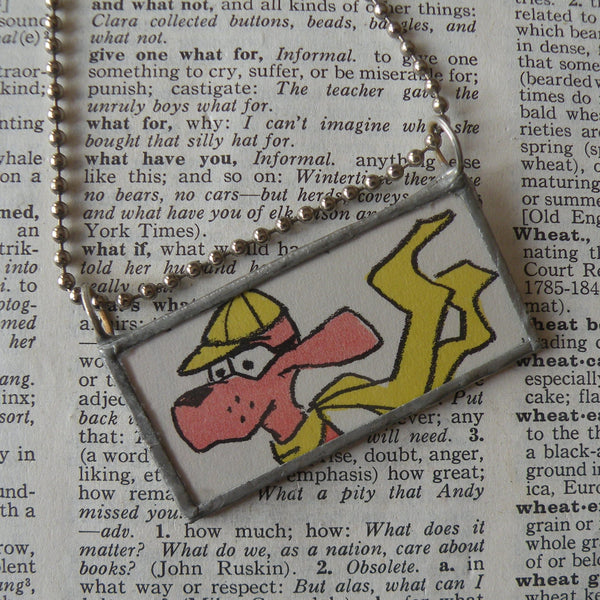 Go Dog Go, original illustrations from vintage book, up-cycled to soldered glass pendant
