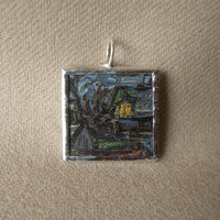 Vincent Van Gogh, Starry Night, upcycled to hand soldered glass pendant