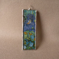 Vincent Van Gogh, bedroom, purple iris, post-Impressionism, upcycled to hand soldered glass pendant