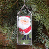 Santa golfer and hot air balloon -1960s Christmas cards, upcycled to hand-soldered glass Christmas tree ornament