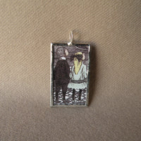 Gorey, vintage children's book illustrations, hand-soldered glass pendant