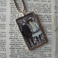 1Gorey, vintage children's book illustrations, hand-soldered glass pendant