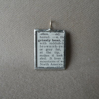 Grizzly bear, vintage dictionary illustration up-cycled to hand-soldered glass pendant
