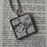 Rooster with guitar, bird in bonnet, vintage children's book illustrations, upcycled to soldered glass pendant