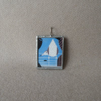 Charley Harper, seagull and glaciers, illustrations up-cycled to 2-sided, soldered glass pendant
