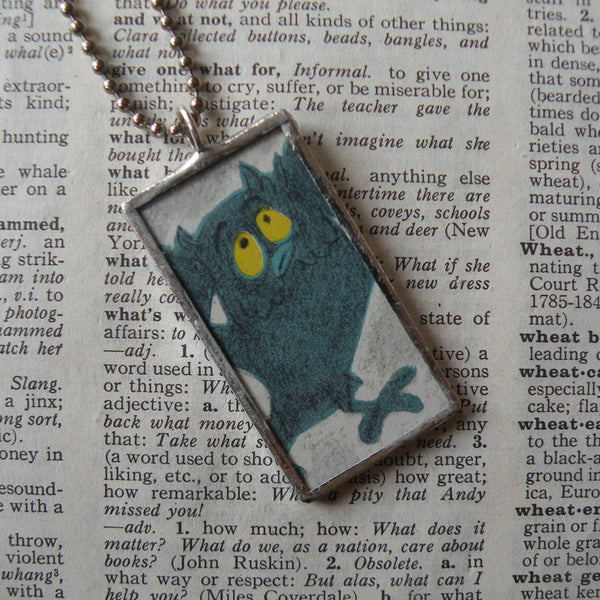 Sam and the Firefly, original illustrations from 1970s vintage book, up-cycled to soldered glass pendant