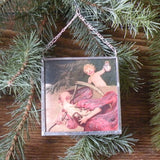 Vintage New Years greeting card, upcycled to hand-soldered glass Christmas tree ornament