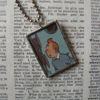 Tintin, original vintage 1960s book illustrations, upcycled to soldered glass pendant