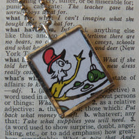 Green Eggs and Ham, vintage children's book illustration, upcycled to soldered glass pendant