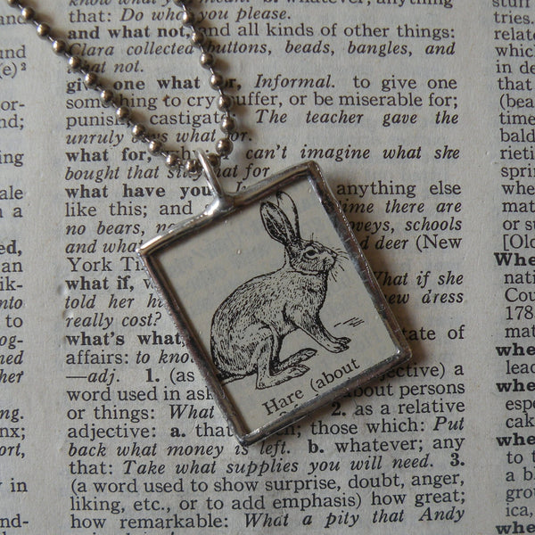 Hare, vintage 1930s dictionary illustration, up-cycled to hand-soldered glass pendant