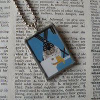 Charley Harper, seal and sea gull illustrations up-cycled to 2-sided, soldered glass pendant