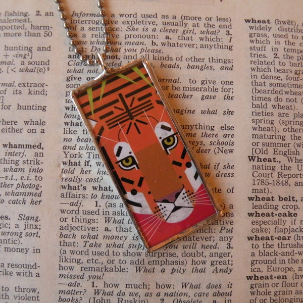 1Charley Harper, tiger, porcupine, mid-century modern art, 2-sided hand soldered glass pendant