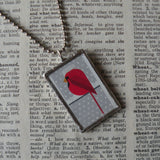 Charley Harper, squirrel and maple leaf, mid-century modern art, 2-sided hand soldered glass pendant