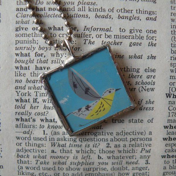 Charley Harper, bird illustrations, mid-century modern art, 2-sided hand soldered glass pendant