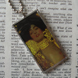 Gustav Klimt, beautiful woman, geometric design, 2-sided soldered glass pendant, choice of necklace, bookmark or keychain