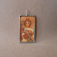 Alphonse Muncha art nouveau woman painting, upcycled to hand-soldered glass pendant