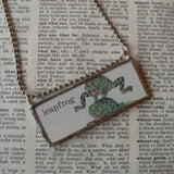 Richard Scarry, frogs, original illustrations from vintage book, up-cycled to soldered glass pendant