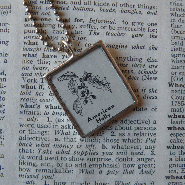 Holly and berries plant, vintage botanical dictionary illustration, upcycled to soldered glass pendant