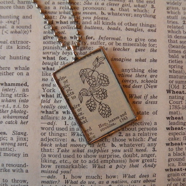 Hops, leaves and strobiles, vintage botanical dictionary illustration, upcycled to soldered glass pendant