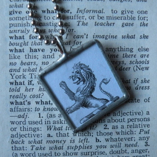 Lion and Satyr, vintage heraldry illustrations, upcycled to soldered glass pendant
