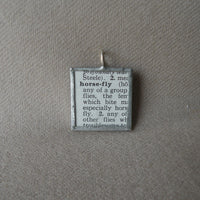 Horsefly, fly, vintage 1930s dictionary illustration, upcycled to soldered glass pendant