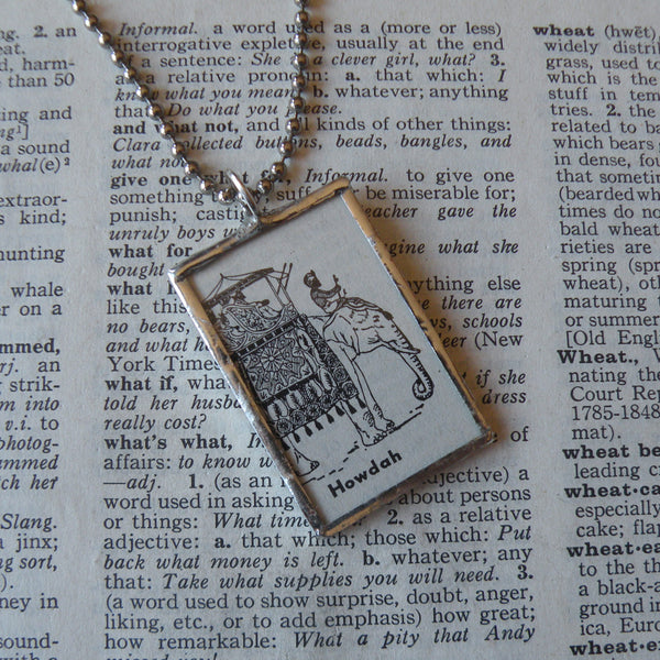 Elephant, Indian Howdah, vintage dictionary illustration up-cycled to soldered glass pendant