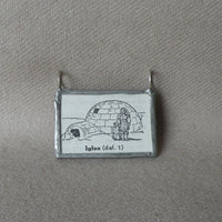 Igloo, vintage dictionary black and white illustration upcycled to soldered glass pendant