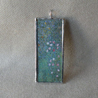 Toulouse-Lautrec The Lady Clown, Klimt Roses in Trees , upcycled to soldered glass pendant