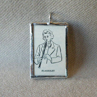 Flageolet, music, musician, vintage dictionary illustration up-cycled to soldered glass pendant