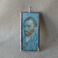 Vincent Van Gogh / Gustave Klimt, post-Impressionism, upcycled to hand soldered glass pendant