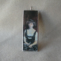 Pierre Bonnard, La Loge, The Box, French impressionist painting, upcycled to soldered glass pendant
