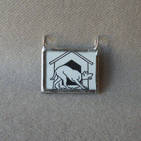Dog, dog house, vintage art deco illustration up-cycled to hand soldered glass pendant