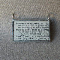 Mastodon, woolly mammoth, vintage dictionary black and white illustration upcycled to soldered glass pendant