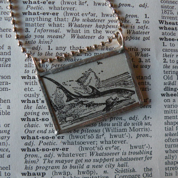 Thresher shark, vintage scientific dictionary illustration, upcycled to hand soldered glass pendant
