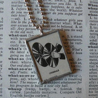 Cymbals, percussion, music, musician, vintage dictionary illustration, soldered glass pendant