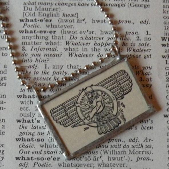 Ancient Egyptian god, mythology, vintage dictionary illustration, upcycled to soldered glass pendant