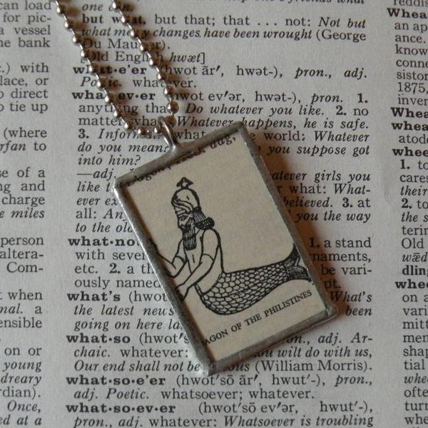 Dagon of the Philistines, vintage dictionary illustration up-cycled to soldered glass pendant