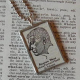 Roman Nose, vintage dictionary illustration up-cycled to hand soldered glass pendant