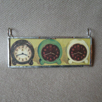 Vintage 1950s clock advertisement, mid-century modern illustration upcycled to soldered glass pendant