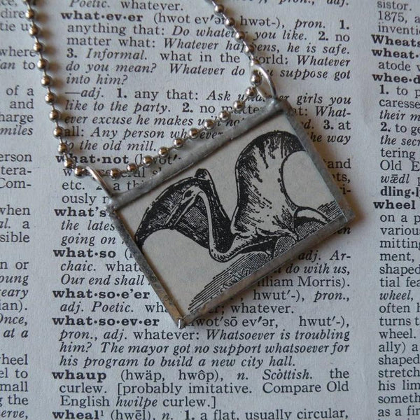 Pterodactyl Dinosaur, vintage scientific dictionary black and white illustration upcycled to soldered glass pendant