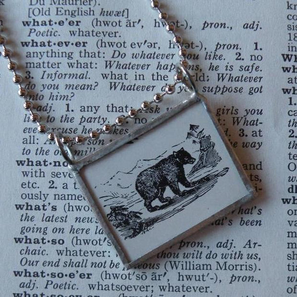 Bear in the Woods, vintage illustration, up-cycled to hand-soldered glass pendant, includes choice of necklace
