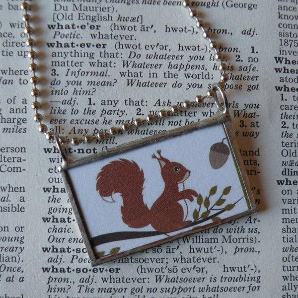 Squirrel and Acorn, vintage illustration, up-cycled to hand-soldered glass pendant, includes choice of necklace