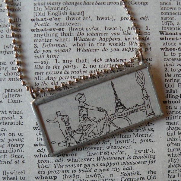 Bicyclist in Paris, vintage illustration upcycled to soldered glass pendant
